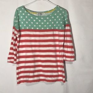 Boden Green White And Red Stripe Tee Shirt Size 8